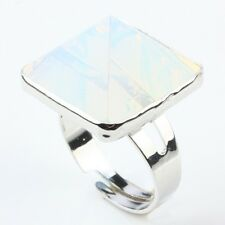Opal/Opalite Crystal Pyramid Stone Silver Cocktail Gemstone Finger Ring  Jewelry