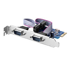 2-Port RS-232 DB9  COM-zu-PCI-E PCI Express Card-Adapter-Konverter