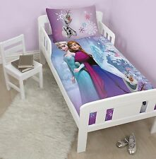 NEW DISNEY FROZEN FOREVER JUNIOR DUVET QUILT COVER SET FOR TODDLER COT BED GIRLS