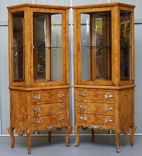 PAIR OF MATCHING BURR WALNUT GLASS SHELVED DISPLAY CABINETS CABRIOLE LEGS
