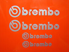 2x 90mm and 2x 75mm BREMBO SILVER BRAKE CALIPER DECALS, STICKERS