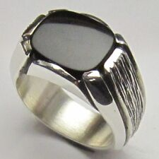 MJG STERLING SILVER MEN'S RING. 12 X 14 mm ANTIQUE CUSHION BLACK ONYX. SZ 10.5