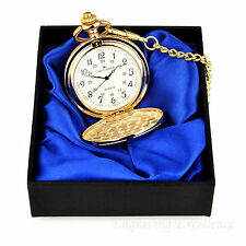 Personalised Engraved Gold Pocket Watch/Chain Satin Gift Box Wedding/Usher Gift