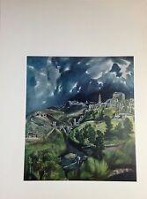 """1957 Vintage Full Color Art Plate """"VIEW OF TOLEDO"""" by EL GRECO Lovely Lithograph"""