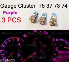 3x T5 5 SMD 3528 LED Gauge Cluster Shifter Light Bulb Purple