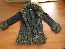 Brown Parka Fur Long Leather Jacket Coat M Heavy Vintage Retro Suede Winter