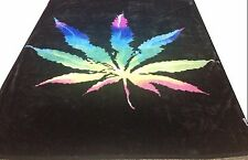Brand New Rainbow Pot Leaf print Queen size Luxury blanket
