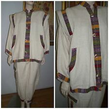 VTG Women's Guatemalan Latin Ethnic 2 Piece Jacket with Capri Cargo Pants Set M