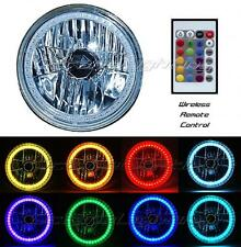 "7"" RGB Multi-Color White Red Blue Green LED Halo Headlight For Harley Motorcycle"