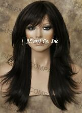 Long Human Hair Blend Wig Dark Brown Flip Out Straight Heat Safe WBMIS