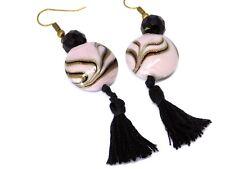 Boucles d'oreilles Perle Mauve et Noire à pompon