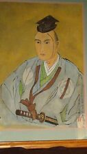 "ANTIQUE 19C CHINESE WATERCOLOR PAINTING ON FABRIC""MAN IN BLUE ROBE WITH SWORD"""