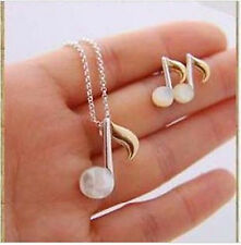 Cute white opal musical note earrings and necklace set