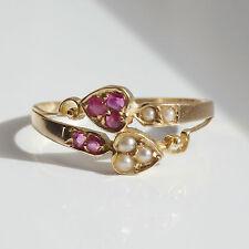 Antique Edwardian 18ct Gold Ruby & Pearl set Double Heart Ring c1905 UK Size 'M'
