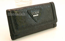 NWT GUESS Women's Polished SLG Trifold Clutch Wallet /Black