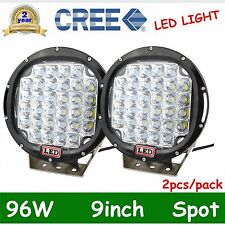 Pair 96W Round 9inch Cree Led Spot Driving Work Light Offroad Truck 4WD SUV 185W