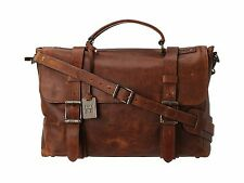 $798 Frye Mens BROWN Logan Messenger Leather Work Briefcase LAPTOP VINTAGE BAG
