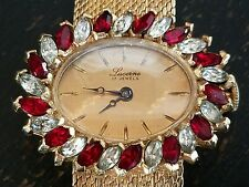 VTG LADIES LUCERNE 17 JEWEL RED & CLEAR RHINESTONE GOLD TONE WRIST WATCH WORKS!