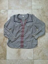 J. Crew Embroidered Boho Cotton Blouse Top Long Sleeve Striped Shirt Womens S