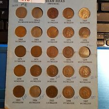 21 Old Indian Head Pennies 1858-1887