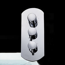 Thermostatic Triple 4 Way Chrome Shower Faucet Valve A2