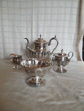 Vintage silver on copper coffee/tea set w/ creamer,sugar  & waste bowl