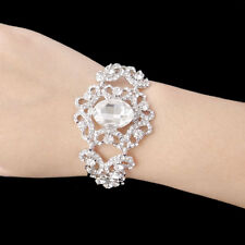 Wedding Bridesmaid Flower Bracelet Chain Bangle Clear Rhinestone Crystal -E158
