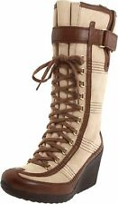 TSUBO SHOES SABIN LACE UP WEDGE BOOTS LEATHER BEIGE BROWN FAUX FUR LINED 10 $240
