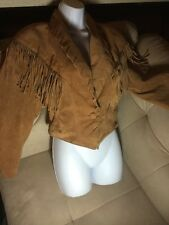 Phoenix Frontier Western Rodeo Brown Suede Jacket Fringe Womens Large Coat VTG L