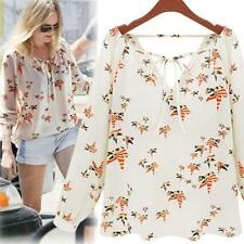 Women Summer Casual Long Sleeve Tether Blouse Chiffon Floral T-Shirt Y4