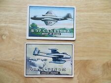 2 1952 VINTAGE TOPPS WINGS BRITISH BOMBERS, VENOM & CANBERRA BUBBLE GUM CARDS
