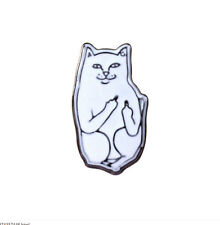 Fashion Design Middle Finger White Cat Pin Needle Collar Brooch