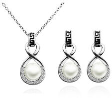 Bridal Vintage White Pearl and Silver Jewellery Set Drop Earrings Necklace S583
