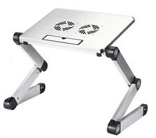 SILVER LAPTOP USB DESK TABLE BED COOLING FANS STAND TRAY ADJUSTABLE FOLDABLE