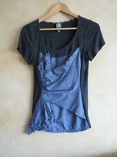anthropologie one september short sleeve ruched top pinstripes black medium