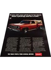 1976 GMC pickup Truck - Vintage Advertisement Car Print Ad J401