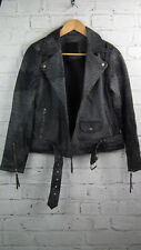 BNWT Designer Just Female Brunse Leather Biker Jacket Grey sz XS/8 uk RRP £318