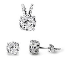 Round Cubic Zirconia .925 Sterling Silver Pendant & Earrings Set