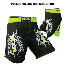 MRX MMA FIGHTER SHORTS GRAPPLING SHORT UFC CAGE MUAY KICK BOXING BLACK GREEN, L