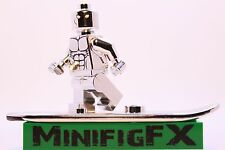 Lego Chrome SILVER SURFER Custom Printed Minifig Marvel Superhero Fantastic 4