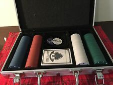 CARDINAL DELUXE POKER SET,WITH PADDED ALUMINUM CARRY CASE,CHIPS,CARDS Used