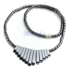 "1pc 18""L Magnetic Black Hematite Beads Pendant Jewelry Necklace Womens HOT Gift"