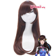 Overwatch Dva Medium Long Straight Bangs Brown Synthetic Cosplay Wig USA Ship