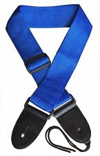 Acoustic Electric Guitar Strap for Kids and Adults. Adjustable Blue Nylon