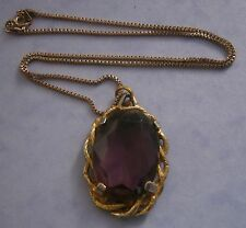 NR138) VINTAGE GOLD TONE CELTIC LARGE AMETHYST FACETED OPEN BACK GLASS PENDANT