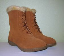 WOMENS CHESTNUT BROWN SUEDE LEATHER LACE-UP WINTER BOOTS NEW US 8 EUR 38 38.5 39