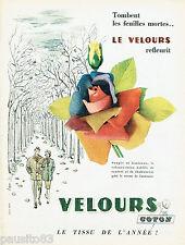 PUBLICITE ADVERTISING 125  1958   les tissus VELOURS COTON par BYDA