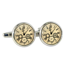 Vintage Style Clock Face Cufflinks Victorian Steampunk Cogs Roman Brand New