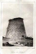 Sardegna: Nuraghe. Civiltà Nuragica. Acciaio. Stampa Antica + Passepartout. 1839