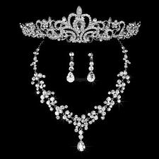 Crown Tiara/Necklace/Earrings Crystal Rhinestone Jewelry Set For Wedding Party